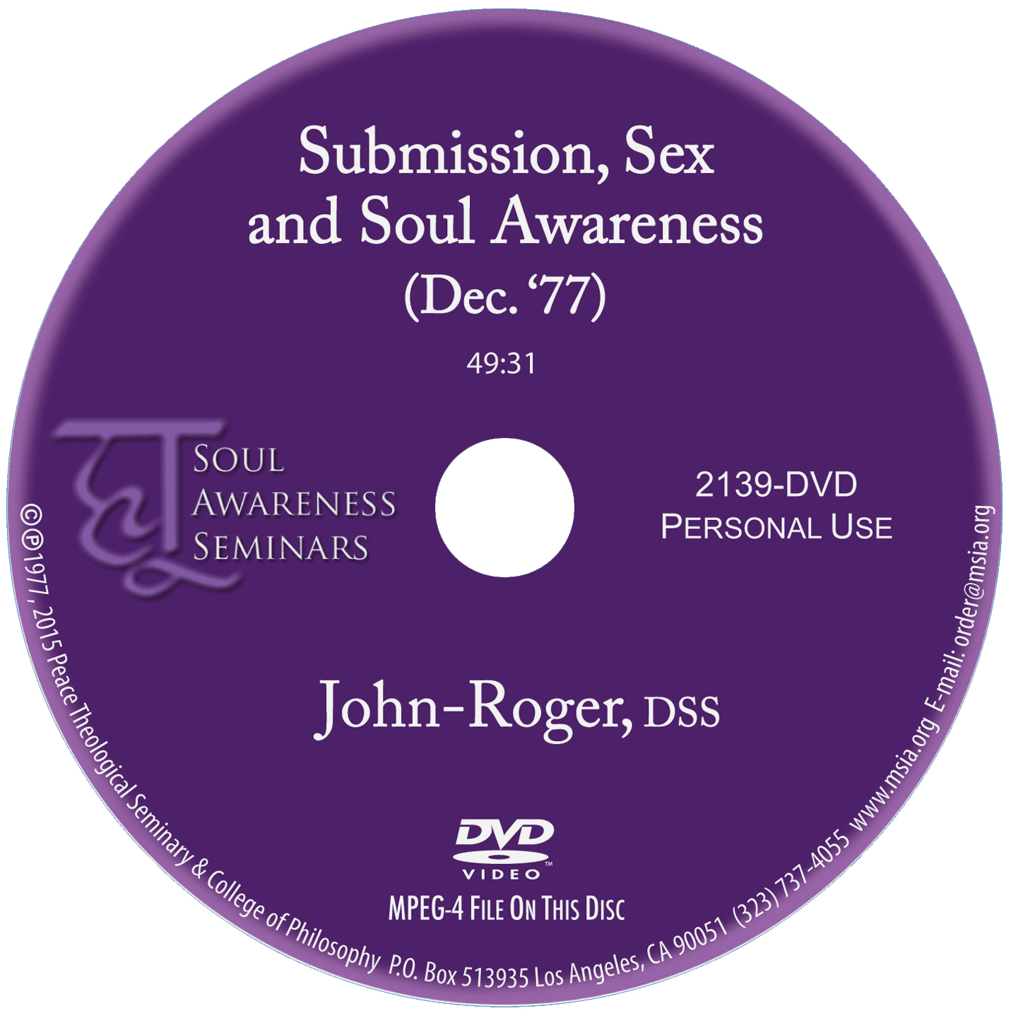 Submission, Sex and Soul Awareness DVD