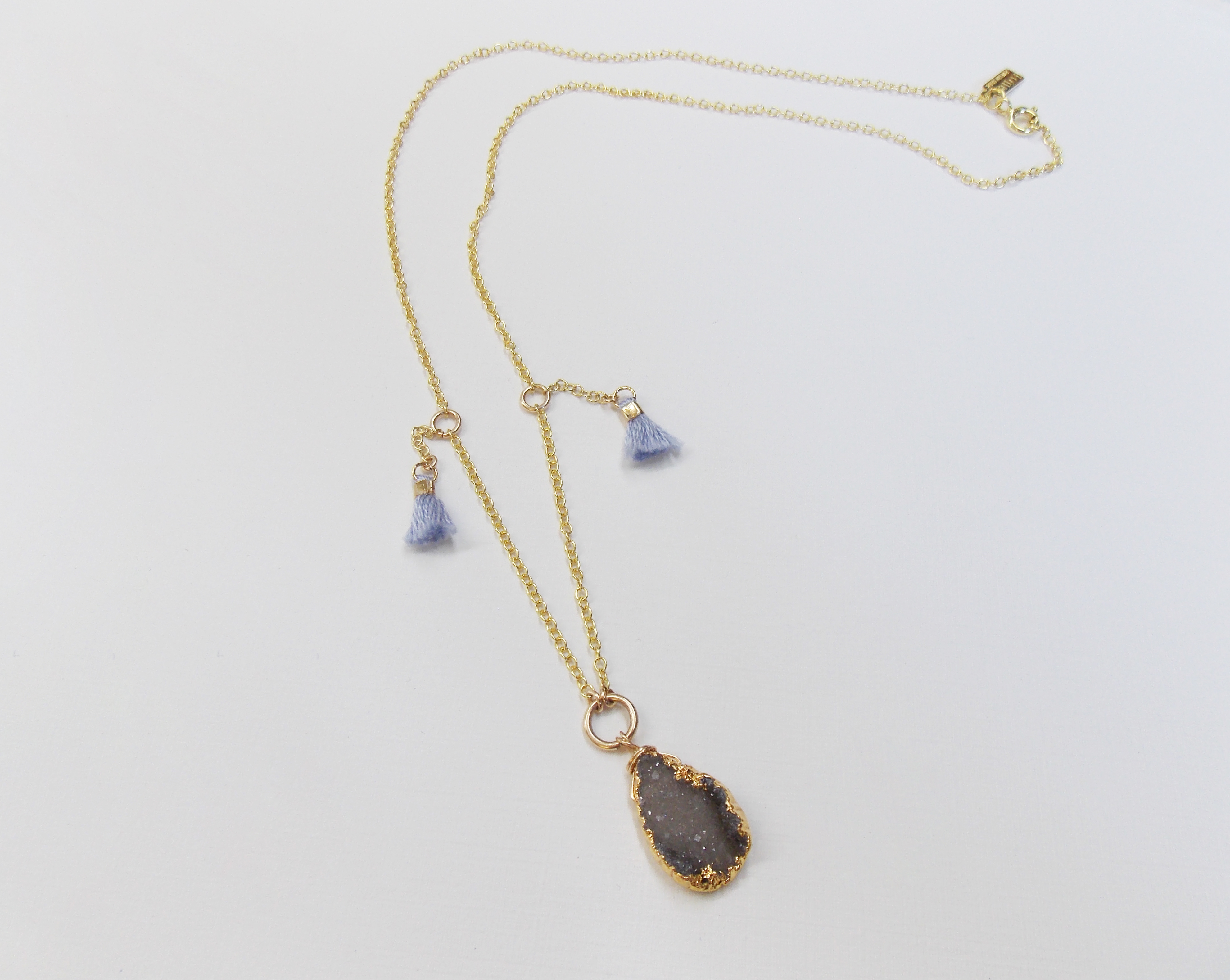 Gold Grey Tuft Necklace