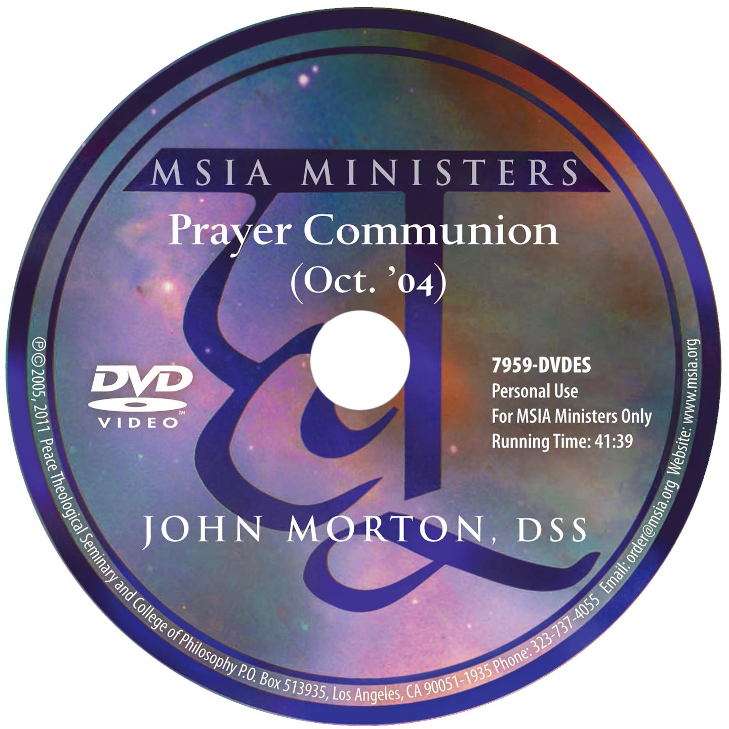 Prayer Communion For MSIA Ministers DVD